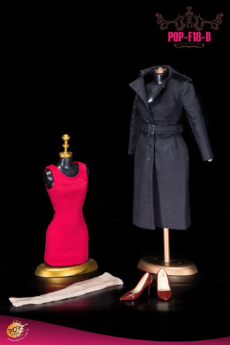 NO BODY HEAD POP TOYS F18 The British Women/'s Windbreaker Suit Black Color 1//6