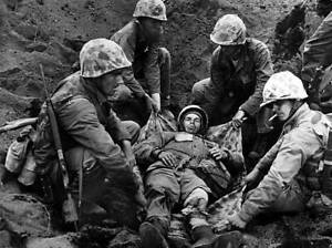 OLD-LARGE-MILITARY-PHOTO-WWII-Battle-Iwo-Jima-Carrying-the-Wounded-Marine