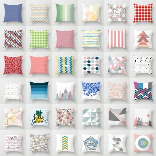 "18/"" Geometric Pattern Polyester Pillow Case Sofa Waist Cushion Cover Home Decor"
