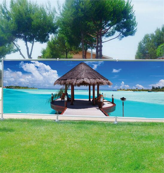 Brise vue déco imprimé pour jardin, balcon ou terrasse Les Maldives 3607