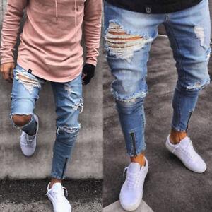 Uomo-Strappati-Skinny-Biker-Jeans-Destroyed-Registrato-Jeans-Aderente-Pantaloni