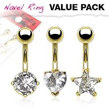 3 lot GOLD Plated CLEAR Heart Star BELLY Button NAVEL RING Body Piercing Jewelry