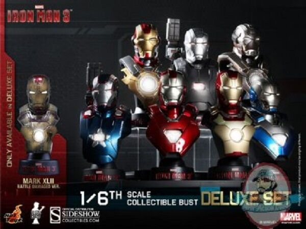 1 6 Iron Man Iron Man 3 Deluxe Set of 8 Collectible Bust Hot Toys