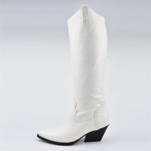 Elegant Spitz Weiß Kniehohe Stiefel Freizeit Damen Stiefel Schwarz Size 34-48