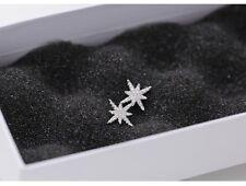 925 Sterling silver cute white snow flake frozen stud earrings Gift box party AJ