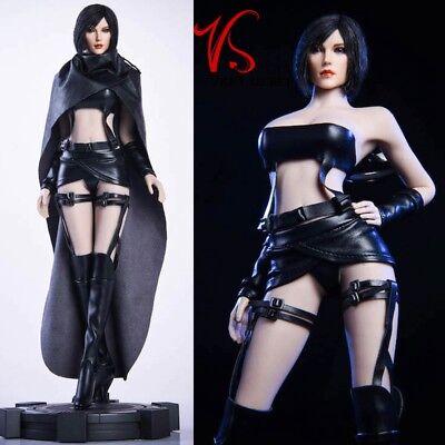 Vstoys 19XG39 1//6 Female Black Leather Cape Bra Skirt Clothes Set F 12/'/' PH Doll