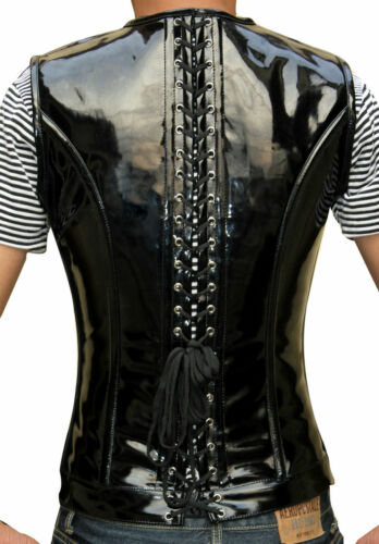 Top Quality Stylish Black PVC Men/'s Body Shaper Long Corset