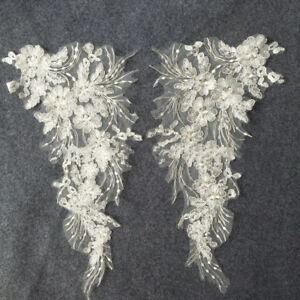 1Pair-Charm-Lace-Applique-Trim-Embroidery-Sewing-Motif-DIY-Wedding-Bridal-Crafts