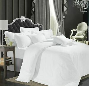 Hotel-Quality-600-800-1000-1200-TC-100-Egyptian-Cotton-White-Solid