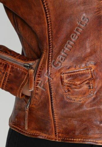 Women/'s Distressed Antique Brown Cafe Racer Vintage Biker Leather Jacket
