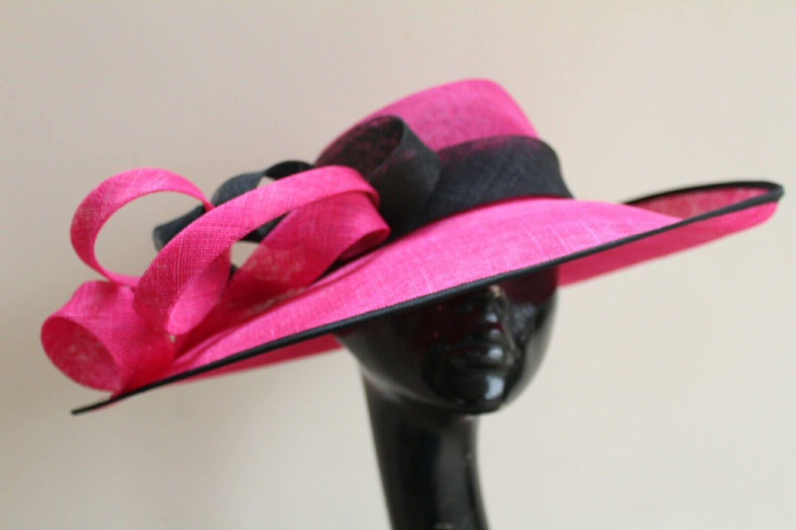 Ladies fushia & black swirl statement hat. Ascot races wedding made to order