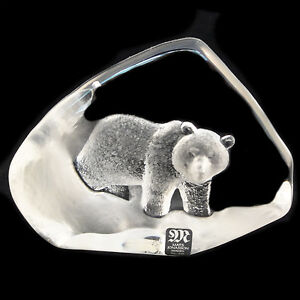"""BEAR by MATS JONASSON 3.7"""" tall NEW IN BOX #2548 Hand Etched in Sweden Crystal"""