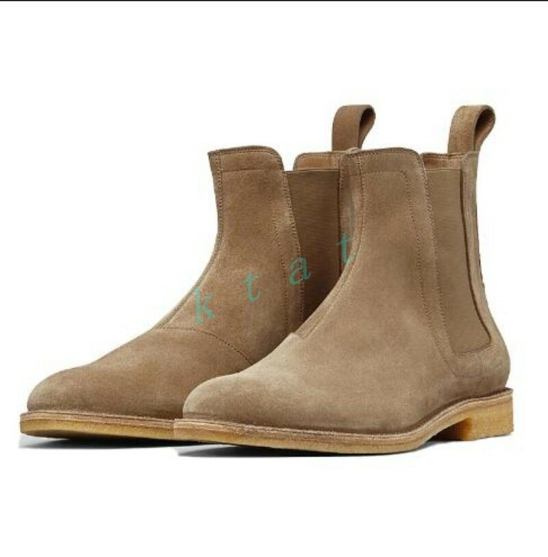 British Retro Suede Chelsea Ankle Boots Men's Casual High Top Round Toe shoes