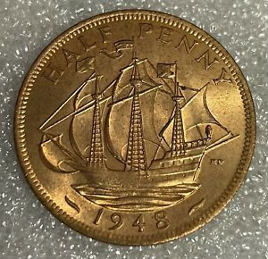 Stunning Grade Lustrous - 1948 GB Half Penny Halfpenny 1/2p - George VI  #117