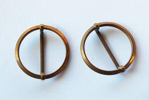 VINTAGE 2 BRASS RING RINGS BUCKLE STEAMPUNK DIY REPURPOSE UNFINISHED BUCKLES B