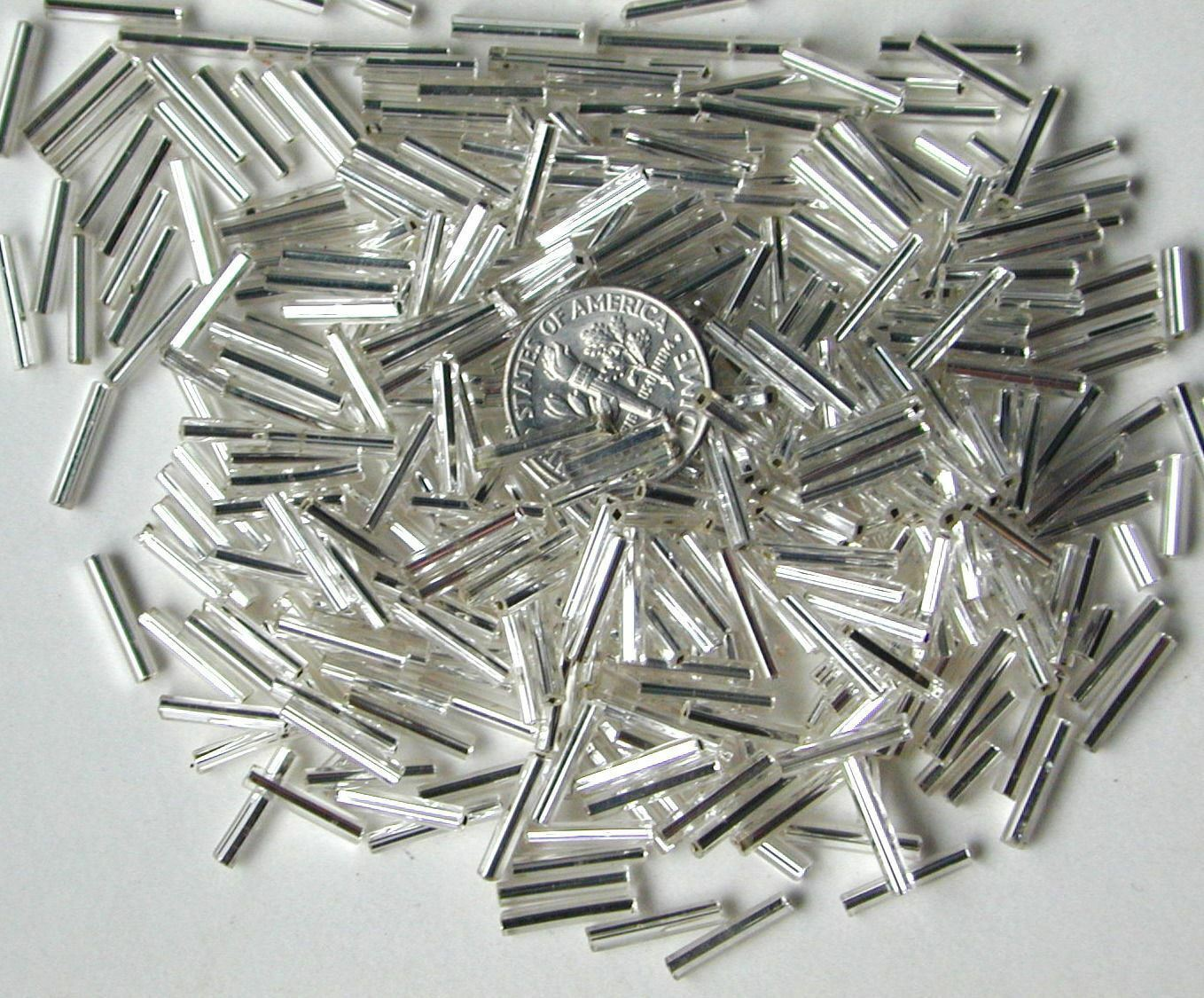 Vintage 275pcs Silvery Silver Lined Glass 10mm Tube Beads Spacers BIG SALE DEAL!