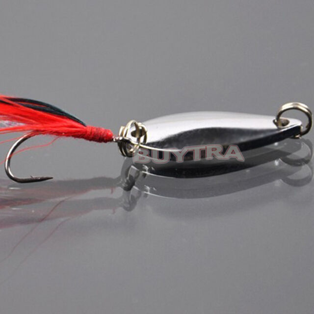 Fad Metal Fishing Lure Sequin Spoon Noise Paillette with Feather Treble Hook IA