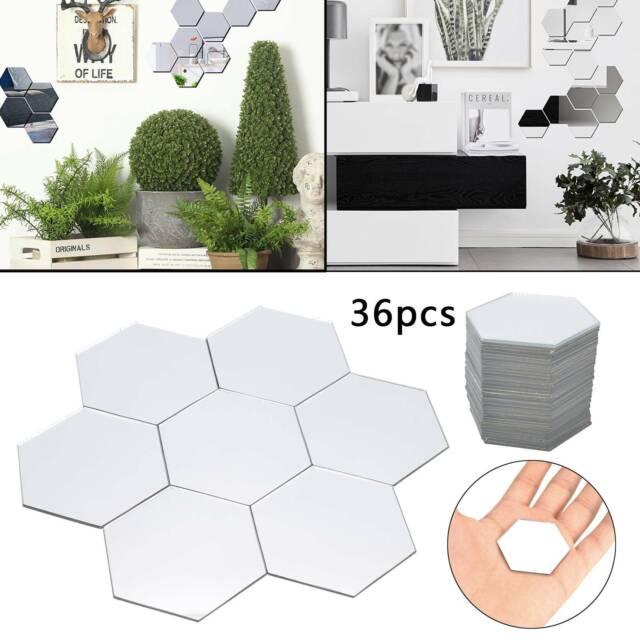 3D Mirror Tiles Hexagonal Mosaic Wall Stickers Self Adhesive Bedroom Art Decal