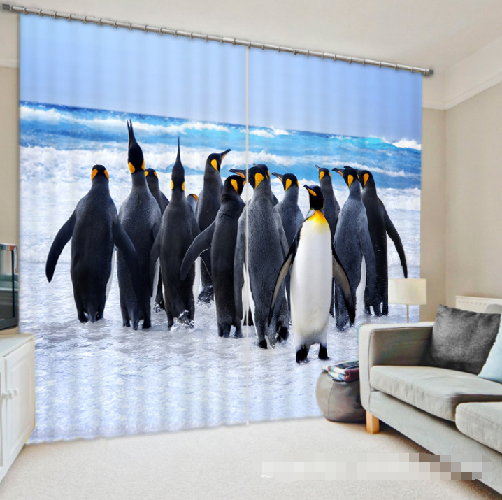 3D Penguin 3 Blockout Photo Curtain Printing Curtains Drapes Fabric Window UK