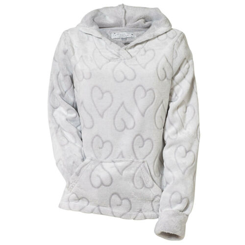 Love To Sleep Heart Womens Super Soft Embossed Fleece Hooded Lounge Top Grey