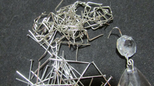 100 Antique Style Silver color Connector Parts-  for Chandelier Crystals/Prisms