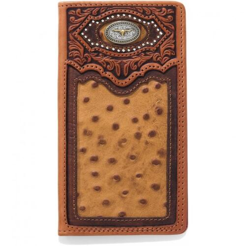 Silver Creek Western Mens Wallet Leather Rodeo Cattle Concho Tan E80435