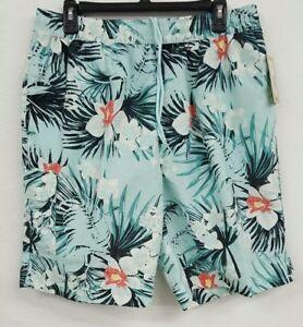 Roundtree-amp-Yorke-Caribbean-Teal-Tropical-Floral-Men-039-s-Swimwear-L-NWT-59-50