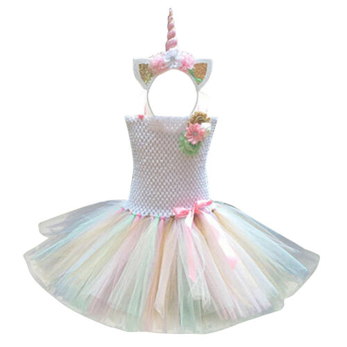 Kids Girls Princess Fancy Tutu Dress+Cartoon Headband Cosplay Party Costumes