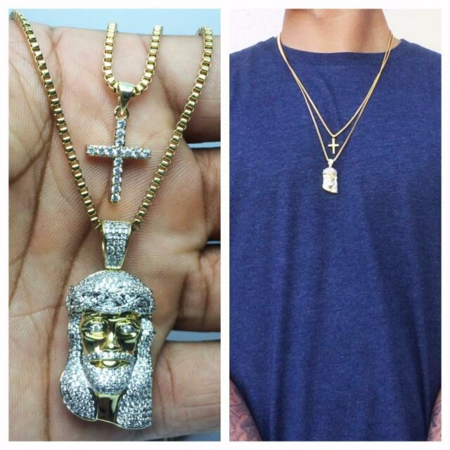 Mens gold mini micro jesus piece and cross pendant combo set mens gold mini micro jesus piece and cross pendant combo set necklace chain aloadofball Image collections