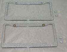 2 all white silver bling glitter crystal rhinestone metal license plate frame