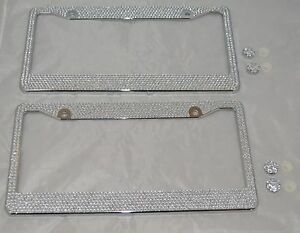 2-All-White-Silver-Bling-Glitter-Crystal-RhineStone-License-Plate-Frame-Car-Auto