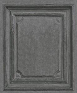 Wallpaper Rasch Vintage Wood Panel Faux Door Pattern Dark Grey