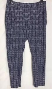 6af8cafd62 Details about M&S Navy Print Stretch Jersey Tapered Leg Trousers Size 16 -  24 Short (ms-278h)