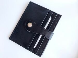 New-Mens-Womens-Leather-ID-Wallet-Holder-Black-Credit-Card-Slim-Thin