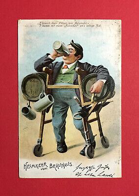 Ansichtskarten Nett Reklame Ak MÜnchen 1906 Hofbräuhaus Heimkehr Mit Bier Bierkrug Deutschland 48646