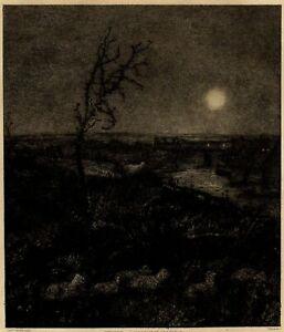 Creil-Lawson-Moonlight-Pastoral-Clair-de-lune-Gravure-Eau-forte-John-Park-XIXe