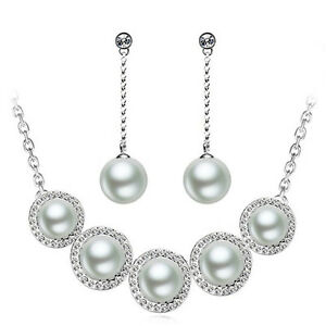 Silver-Plated-Pearls-Jewellery-Set-Bridal-Choker-Necklace-Drop-Earrings-S737