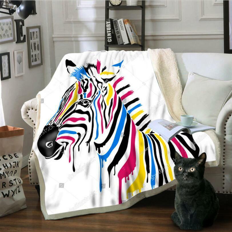 3D Farbe Zebra ZHU201 Warm Plüsch Fleece Decke Picknick Sofa Couch Quilt Bett
