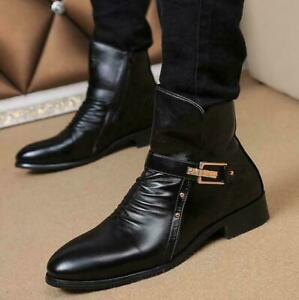 men's pumps casual leather pointy toe pleated ankle boot
