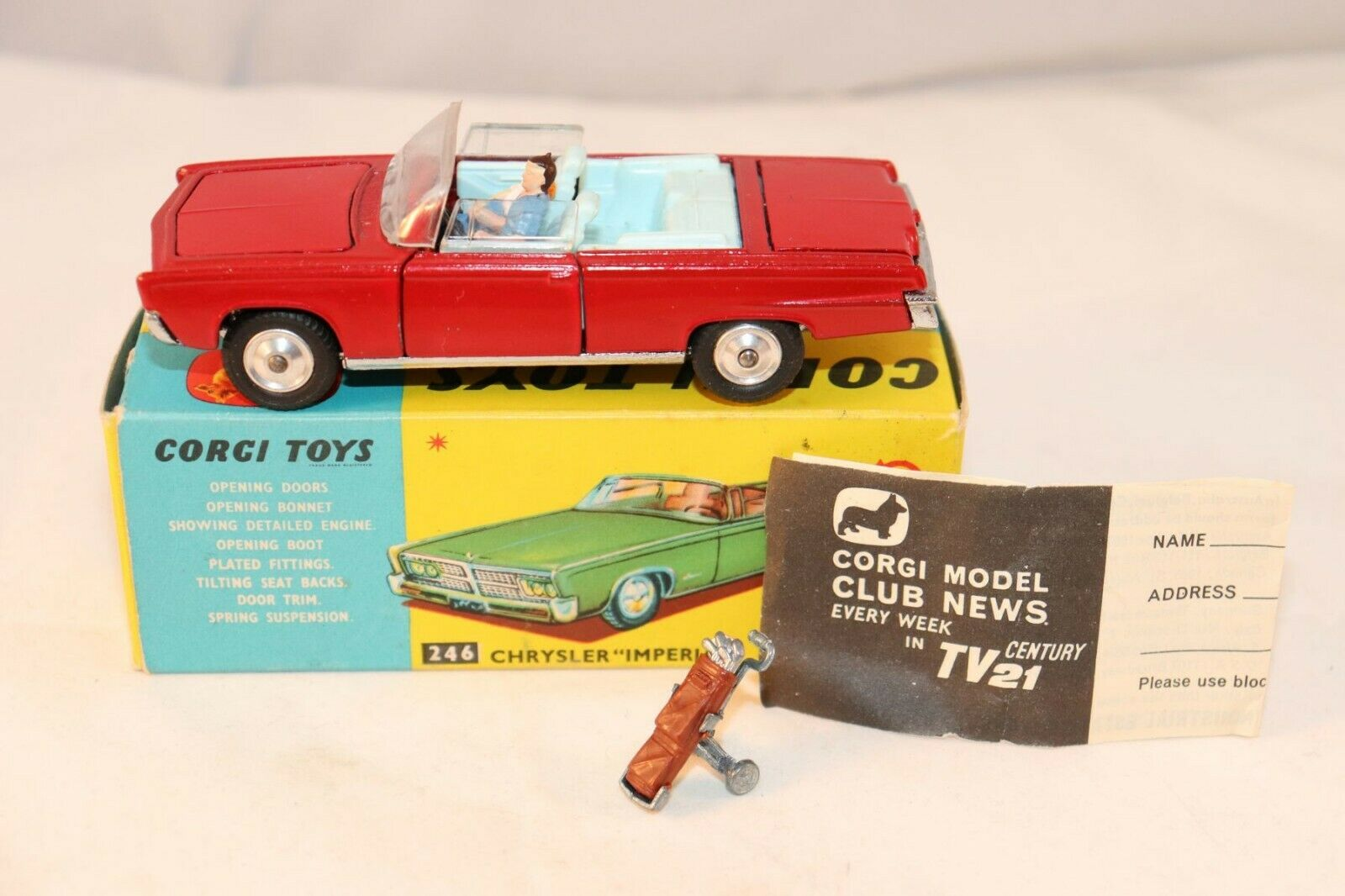 Corgi Toys 246 Chrysler  Imperial   mint in box with SPUN HUBS very scarce model