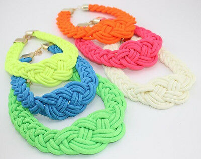 New Sell Fashion Occident style handmade woven Chinese knot cotton rope necklace
