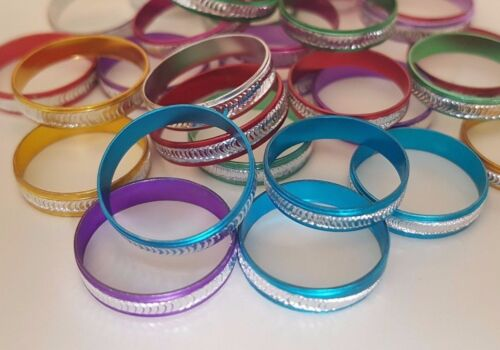Pack of 30 Aluminium Fashion Rings Mixed Colours//Sizes Party//Goody Bags Dress Up