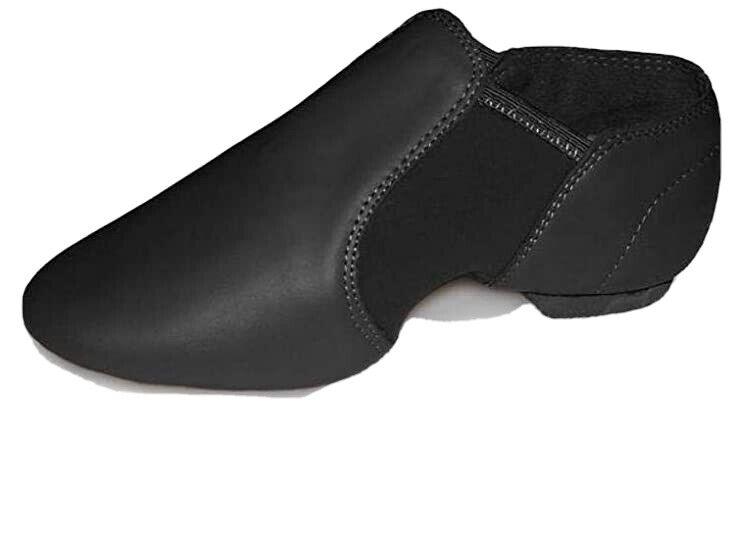 Black Leather With Neoprene Split Sole Jazz Dance Shoes Size J10