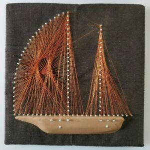 Vintage-Mid-Century-Copper-Wire-Nail-String-Art-Sail-Boat-Ship-12-034-x12-034