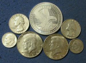 LOT 6 US SILVER COINS & 1 OZ .999 FREEDOM EAGLE ROUND 1964 & 1964 HALF DOLLARS