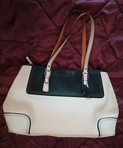 3f6ee13be44 Details about Coach Hampton 2-Tone Black/White Leather Large Tote Purse Bag