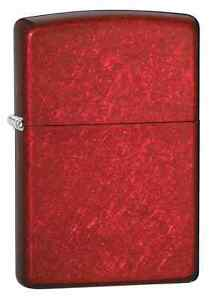 Zippo-21063-Candy-Apple-Red-Finish-Lighter-Full-Size-6-Extra-Flints-amp-Wick