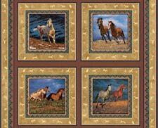 La libertad Caballos tejido de algodón paneles - (de 4 paneles)
