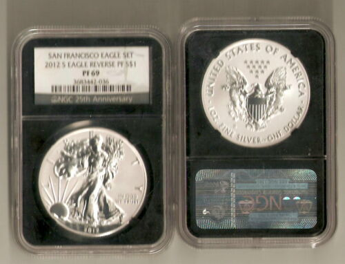 2012 s reverse proof silver eagle NGC PF 69