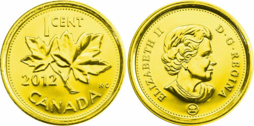 2012 Canadian Penny plate Gold 24k-Magnetic